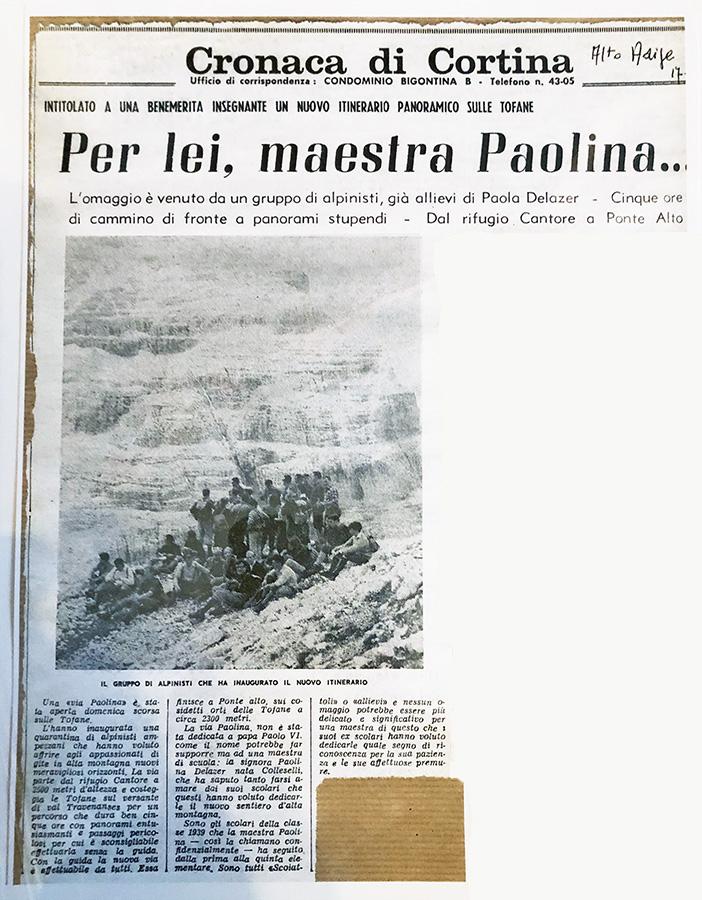 Articolo Cengia Paolina - Quotidiano Alto Adige - 10 luglio 1966