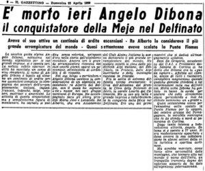Articolo morte Angelo Dibona