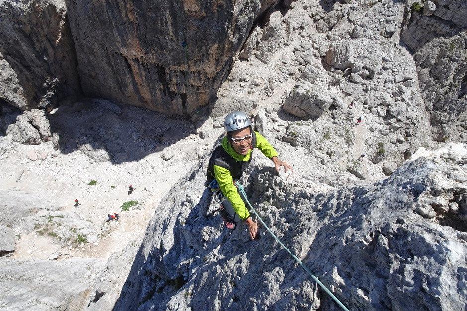 Climbing on Torre Inglese