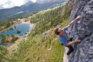 Sport climbing at Croda da Lago
