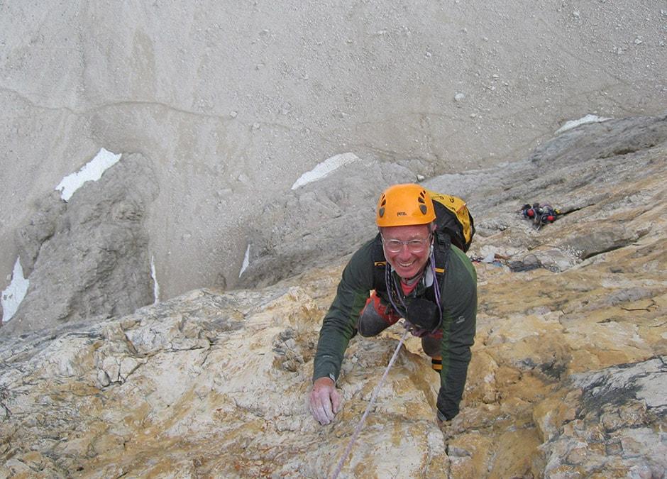 Tony Scott climbing the north face of Cima Grande di Lavaredo