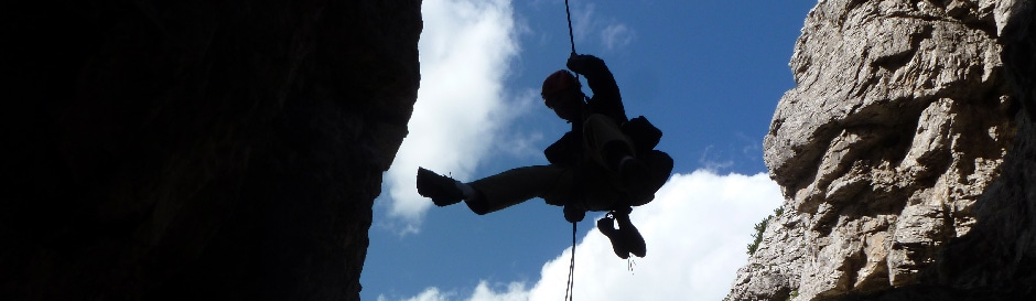 Rappelling from Campanile Val Montanaia