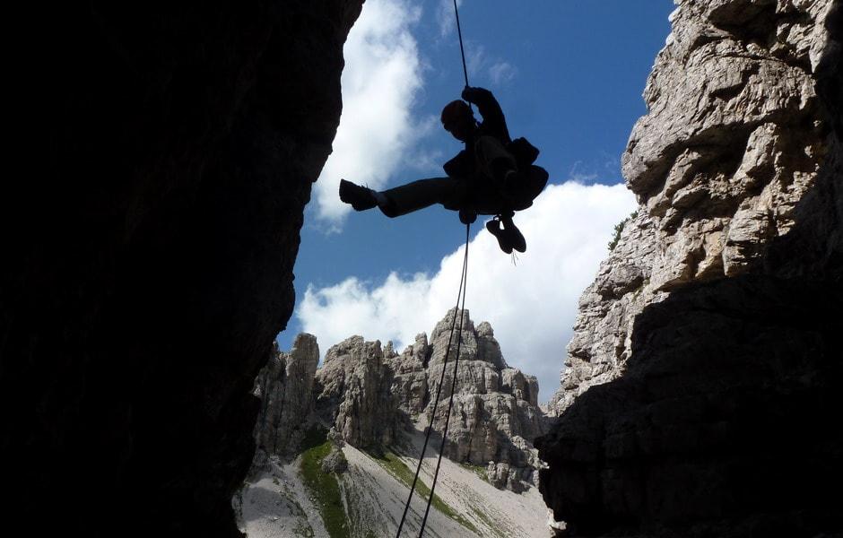 Donato rapelling from the Campanile di Val Montanaia