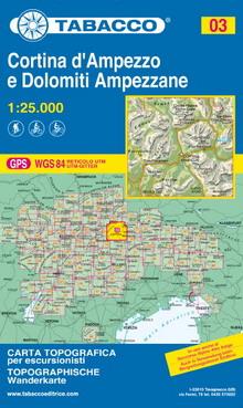 Tabacco map Cortina d'Ampezzo