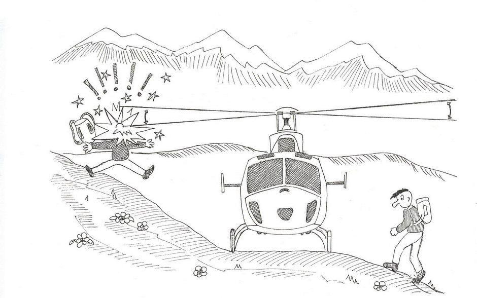 Zona a monte dell'elicottero, molto pericolosa!