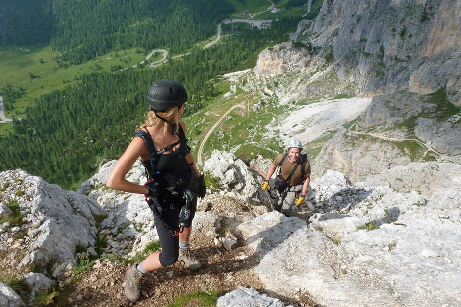 Climbing on Col dei Bos