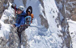 Sulla via ferrata degli Alpini in inverno
