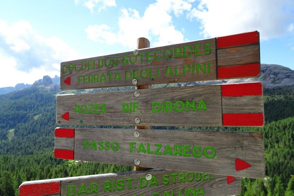 Indicazioni per Ferrata degli Alpini