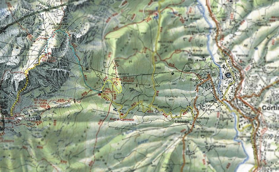 Mappa del Sentiero Olivieri