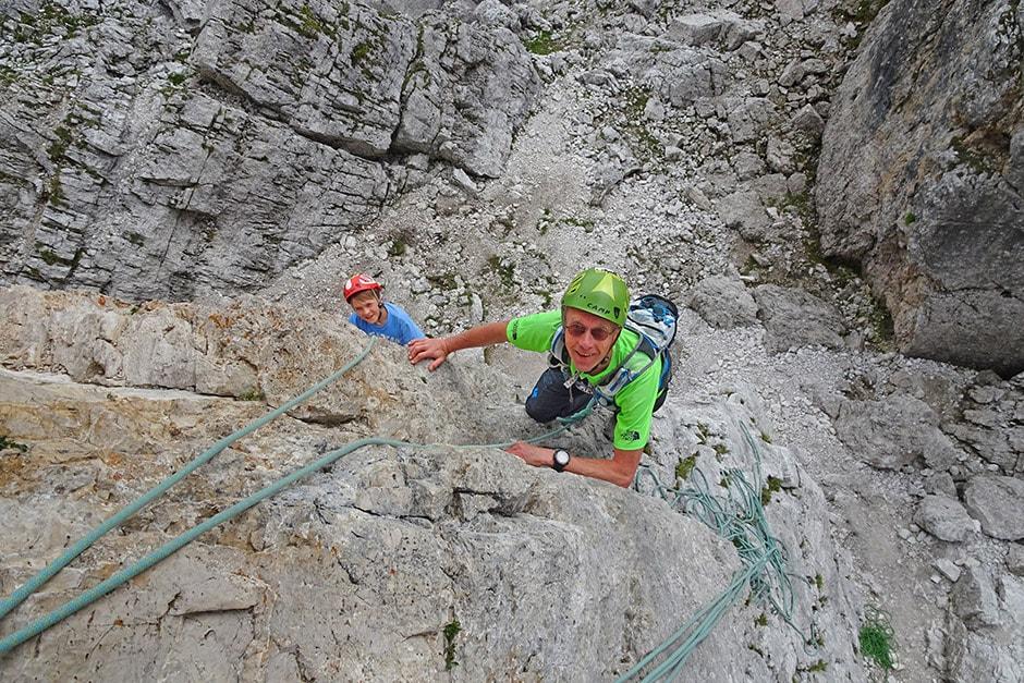 Jukka and Jon climbing Torre Quarta Bassa