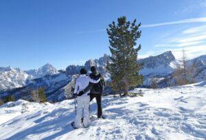 Snowshoes  -  Dolomites landscape