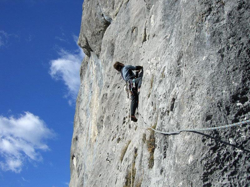 In arrampicata sulla via Gino. Croda di Campoduro.